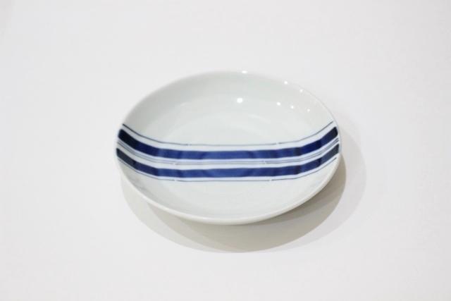染付<br /> 取皿(中央ライン・青)