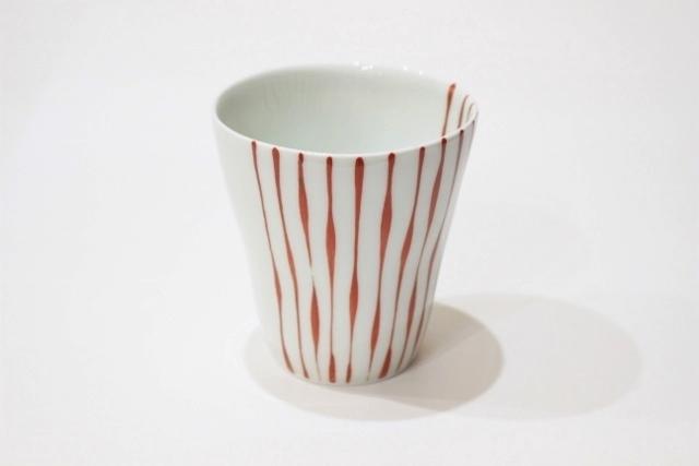 染付<br /> スタイリッシュフリーカップ(つれづれ十草・赤)
