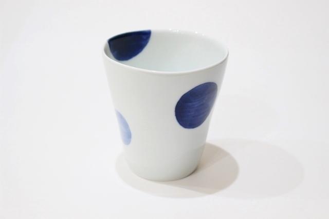 染付<br /> スタイリッシュフリーカップ(二色丸紋・青)
