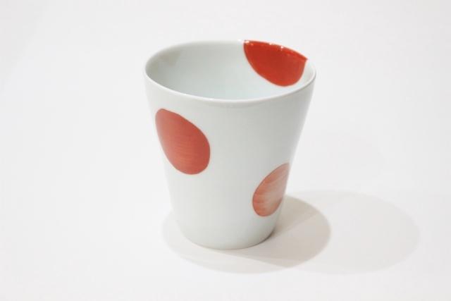 染付<br /> スタイリッシュフリーカップ(二色丸紋・赤)