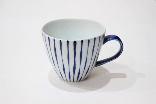 染付シリーズ Uマグカップ つれづれ十草(取っ手 青)