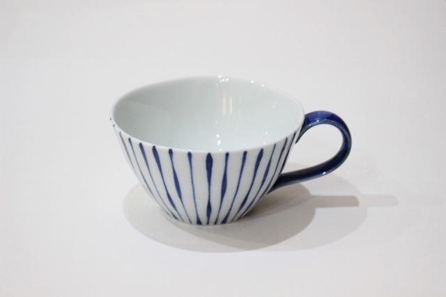 染付シリーズ スープカップ つれづれ十草(取っ手 青)
