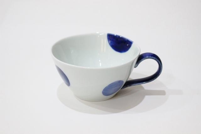 染付シリーズ スープカップ 二色丸紋(取っ手 青)
