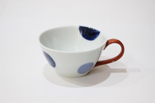 染付<br /> スープカップ(二色丸紋・取っ手赤)