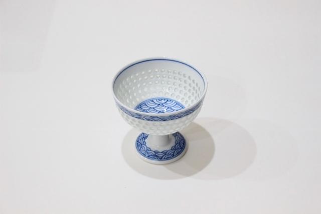 水晶青海波<br /> 高台小鉢