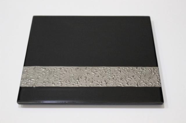 プラチナリング<br /> 21cm角プレート(黒)