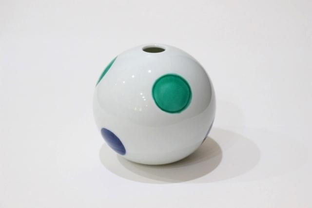 交趾<br /> 丸紋フラワースタンド(緑)