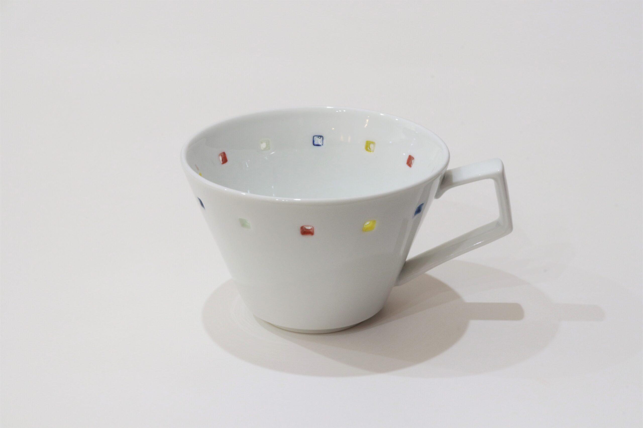 水晶カラフルスクエアライン<br /> Vコーヒーカップ